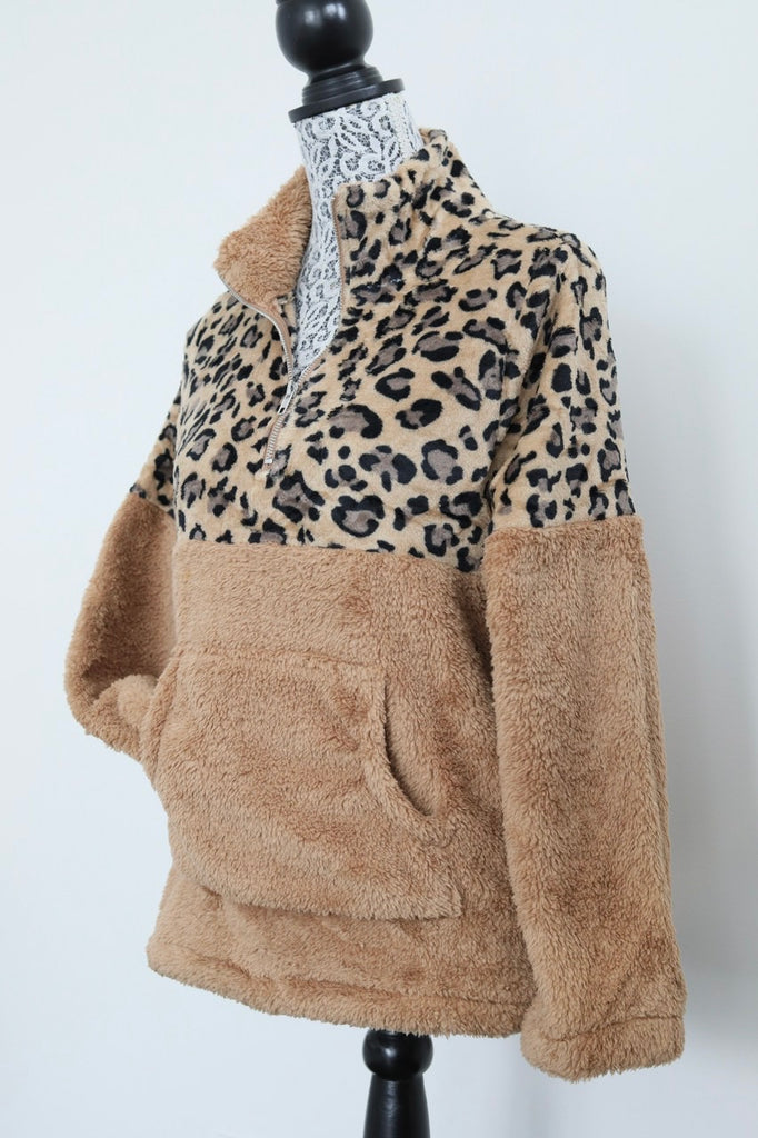 STAY HOME half-zip Sherpa fleece - Leopard Camel