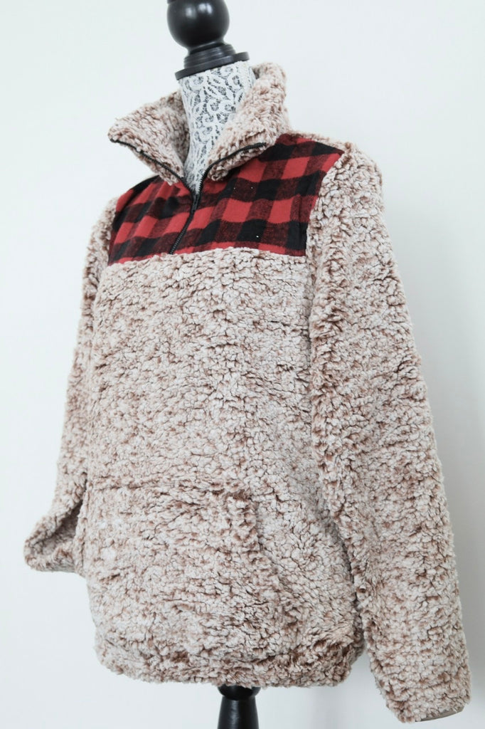 STAY HOME half-zip sherpa fleece - Dinner Plaid