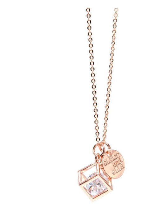 eLiasz and eLLa caged diamond and rose gold necklace