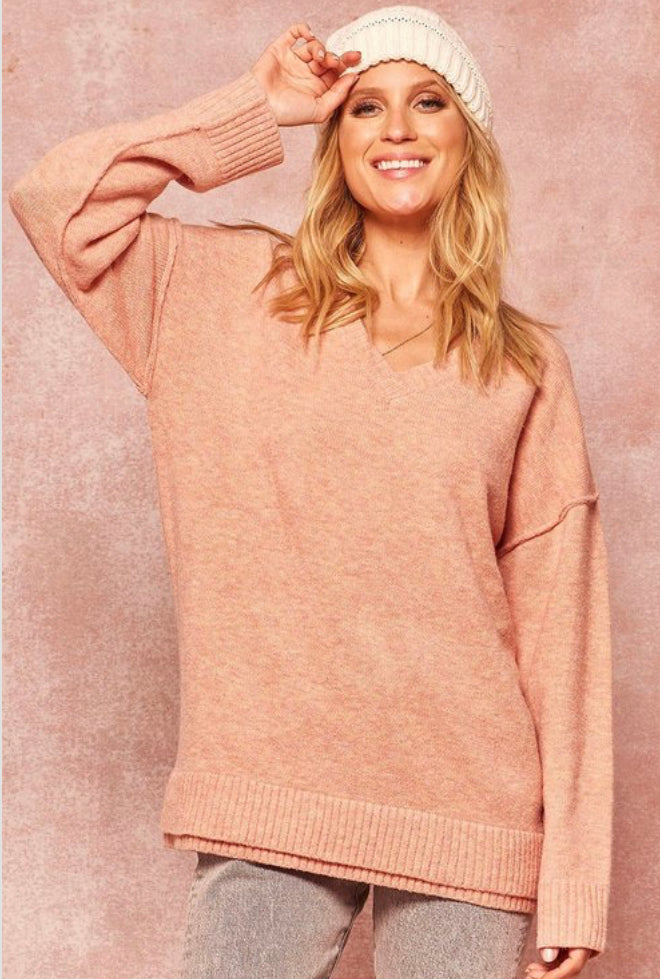 Solid Knit Pink Sweater