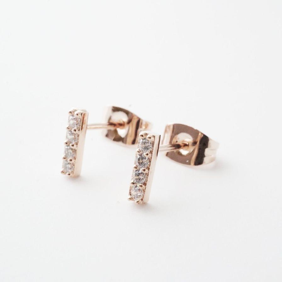 Honeycat Flat Drop Crystal Bar Earring - Rosegold