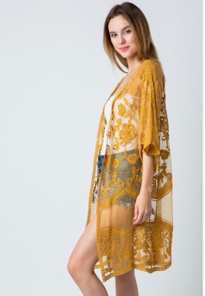 Long Lacy Coverup Mustard