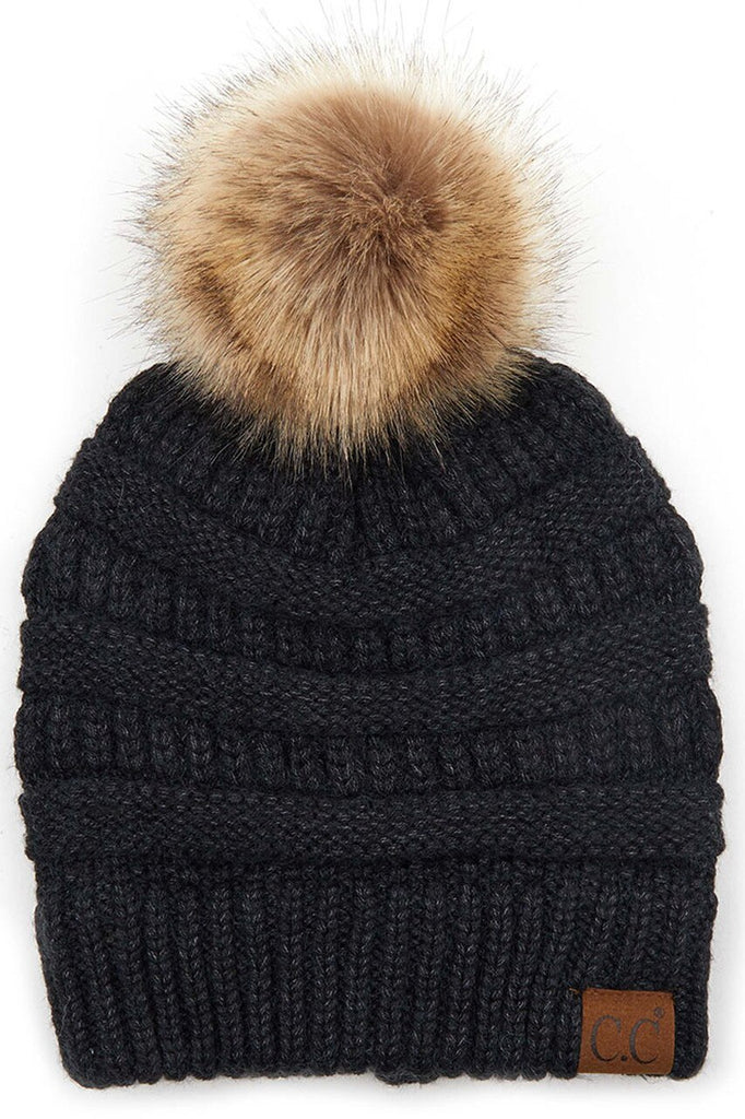 CC Beanie Black with Pom