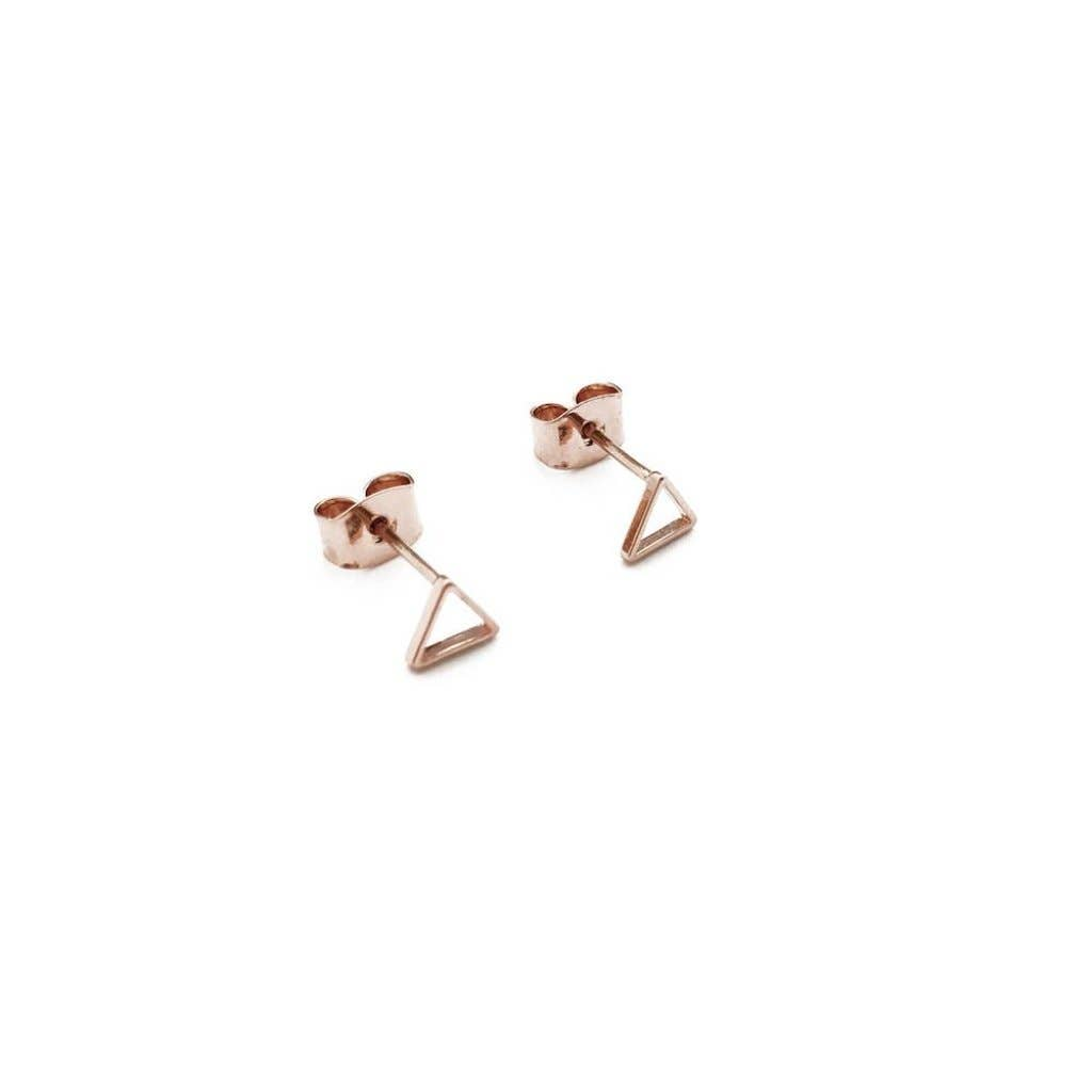 Honeycat Outline Triangle Stud Earrings - Rosegold