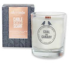 Coal and Canary Cable Knit Scarf Candle