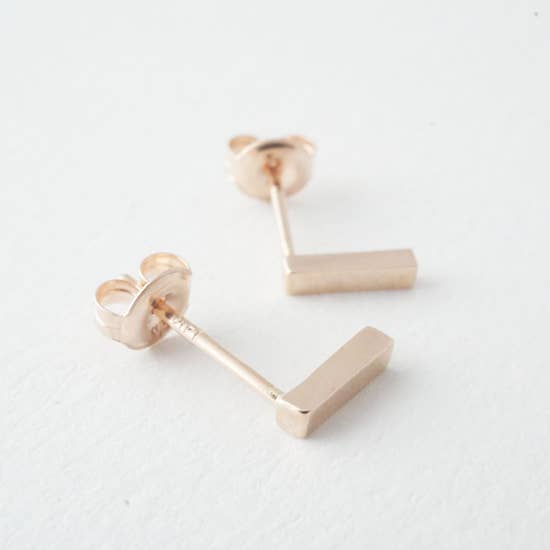 Honeycat Solid and Pure14k Dropbar Earrings - Rosegold