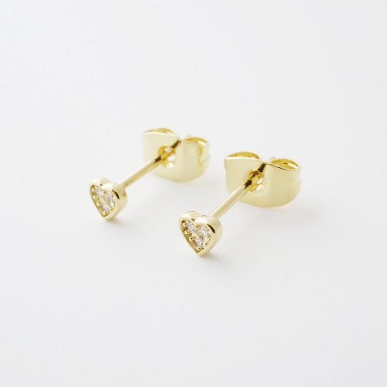 Honeycat mini heart earrings - gold