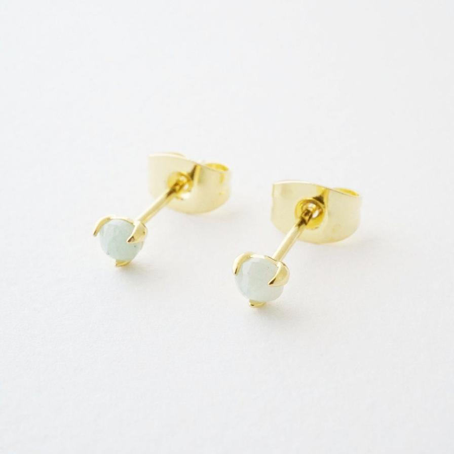 Honeycat jade point studs - champagne gold