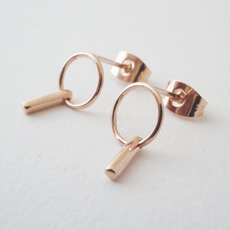 Honeycat link earrings - rosegold