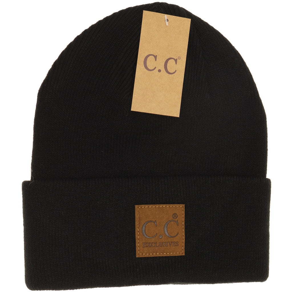 CC Beanie Unisex Oversized Patch - Black
