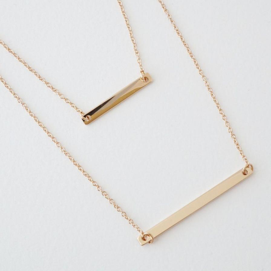 Honeycat double bar necklace - gold