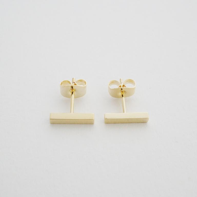 Honeycat midi bar earrings - champagne gold