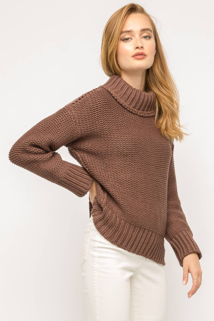 Molly mock neck slouchy knit sweater