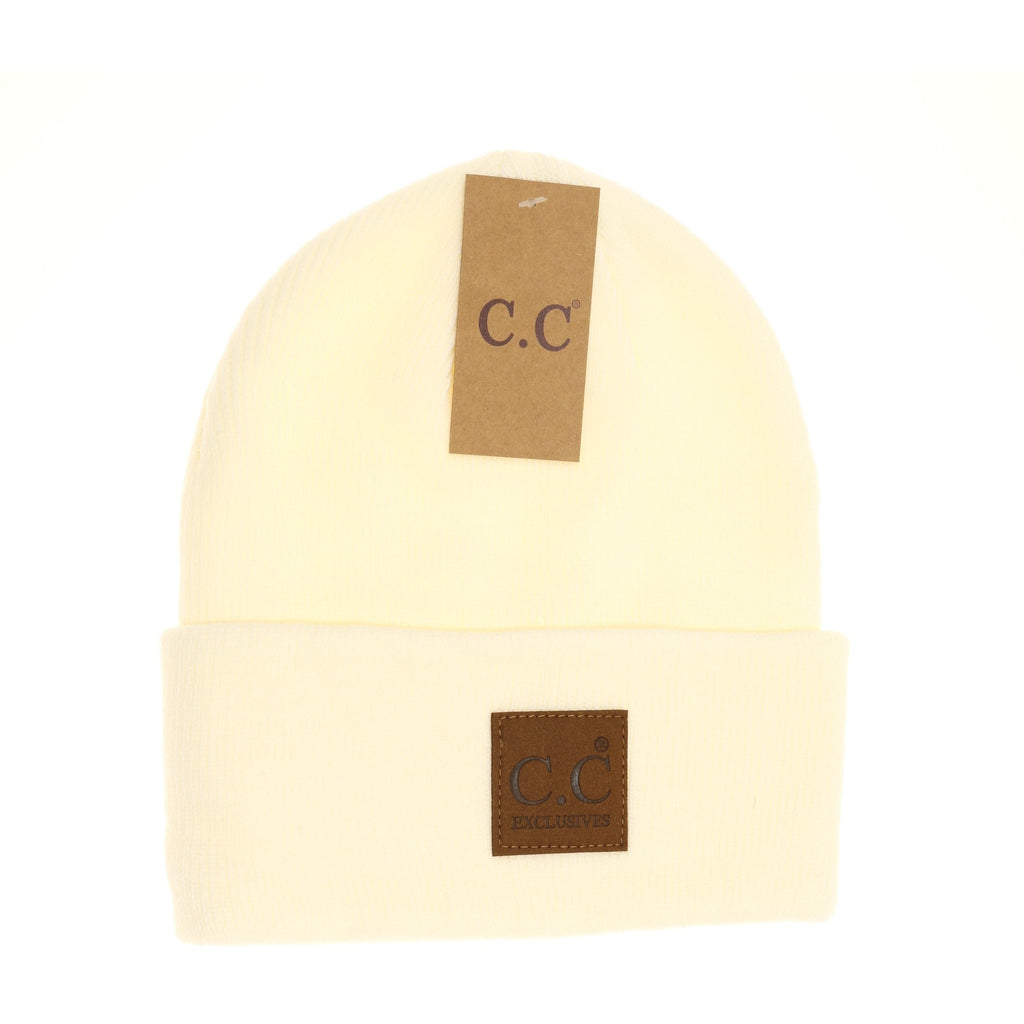 CC Beanie Unisex Oversized Patch - Ivory