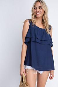 LOLA tiered ruffle overlay top