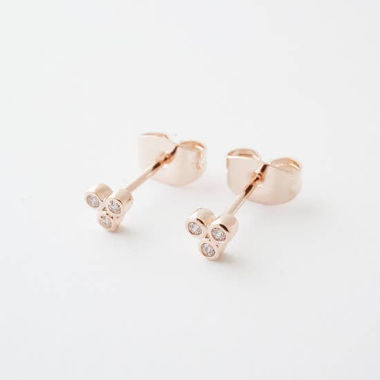 Honeycat Trinity Crystal Stud Earrings - Rosegold