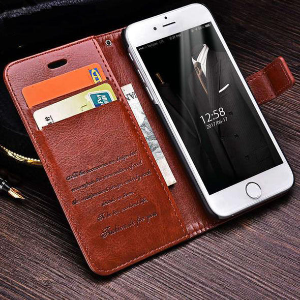 Leather Protection Wallet Case with Card Slots for iPhone