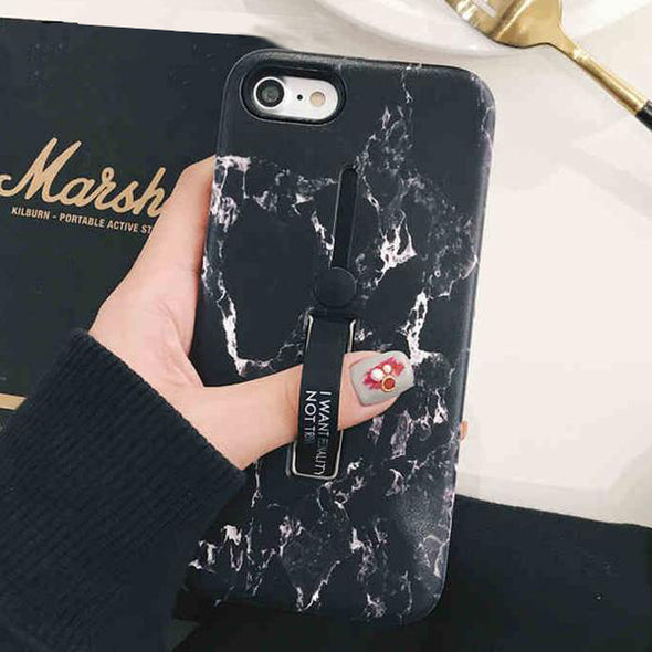 Marble Soft Silicon Loop Phone Case For iPhone