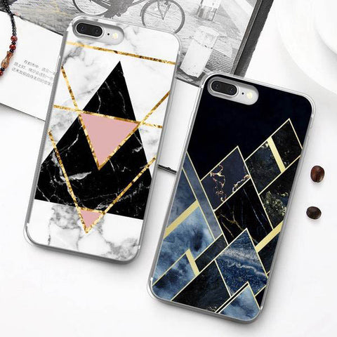 Soft Silicone Luxury Geometric Marble Case For iPhone X 6 6S 7 8