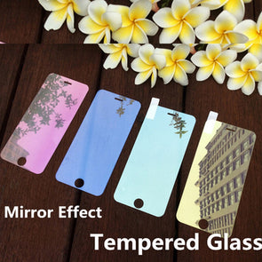 Colored Tempered Glass Reflective Mirror Screen Protector Cover Skin Film For iPhone 5