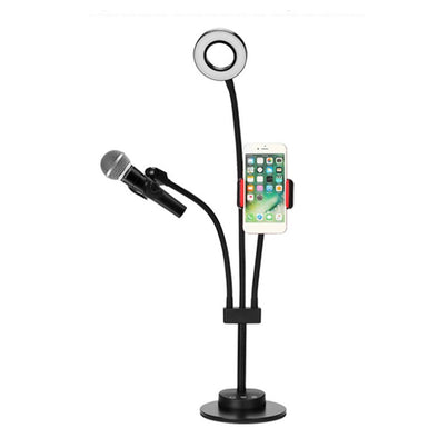 Multifunction 3-in-1 Cell Phone Holder with LED Selfie Ring Light
