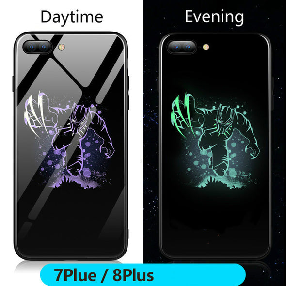 Black Panther Luminous Glass Case For iphone 7 8 6 6s Plus X Xs XMax Xr
