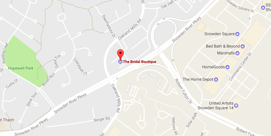 Map of directions to the Bridal Boutique