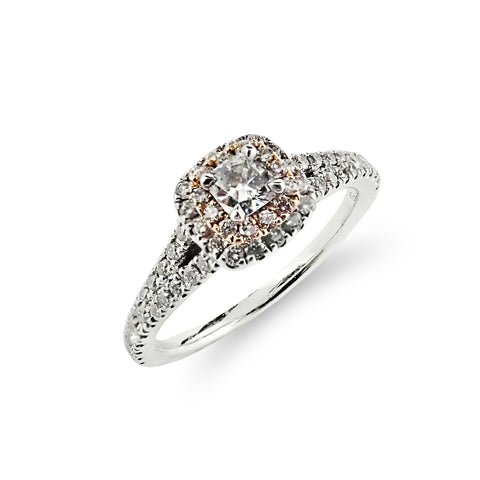 Rose and White Gold Diamond Halo Ring | Shop Online | Ring - Rosendorff