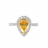 Fancy Intense Orange Diamond Ring with Brilliant White Diamonds, 18ct White Gold | Shop Online | Ring - Rosendorff