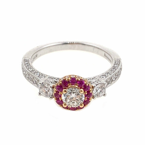 Pretty Pink Sapphire Trilogy & Diamond Ring