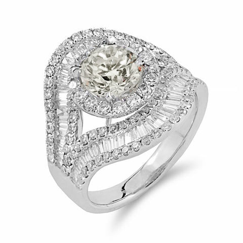 Round Brilliant & Baguette Cut Diamond Ring