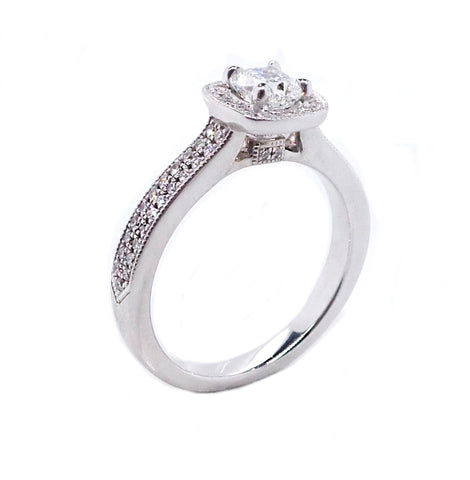Kissing Diamond Cushion Engagement Ring