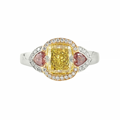 Rare!! Natural Vibrant Yellow, Pink & Brilliant White Diamonds Ring crafted in 18ct White and Yellow Gold | Shop Online | Ring - Rosendorff