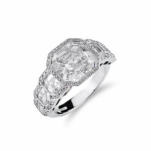 Rare Cascade Collection Asscher Cut Diamond Ring 18ct White Gold | Shop Online | Ring - Rosendorff