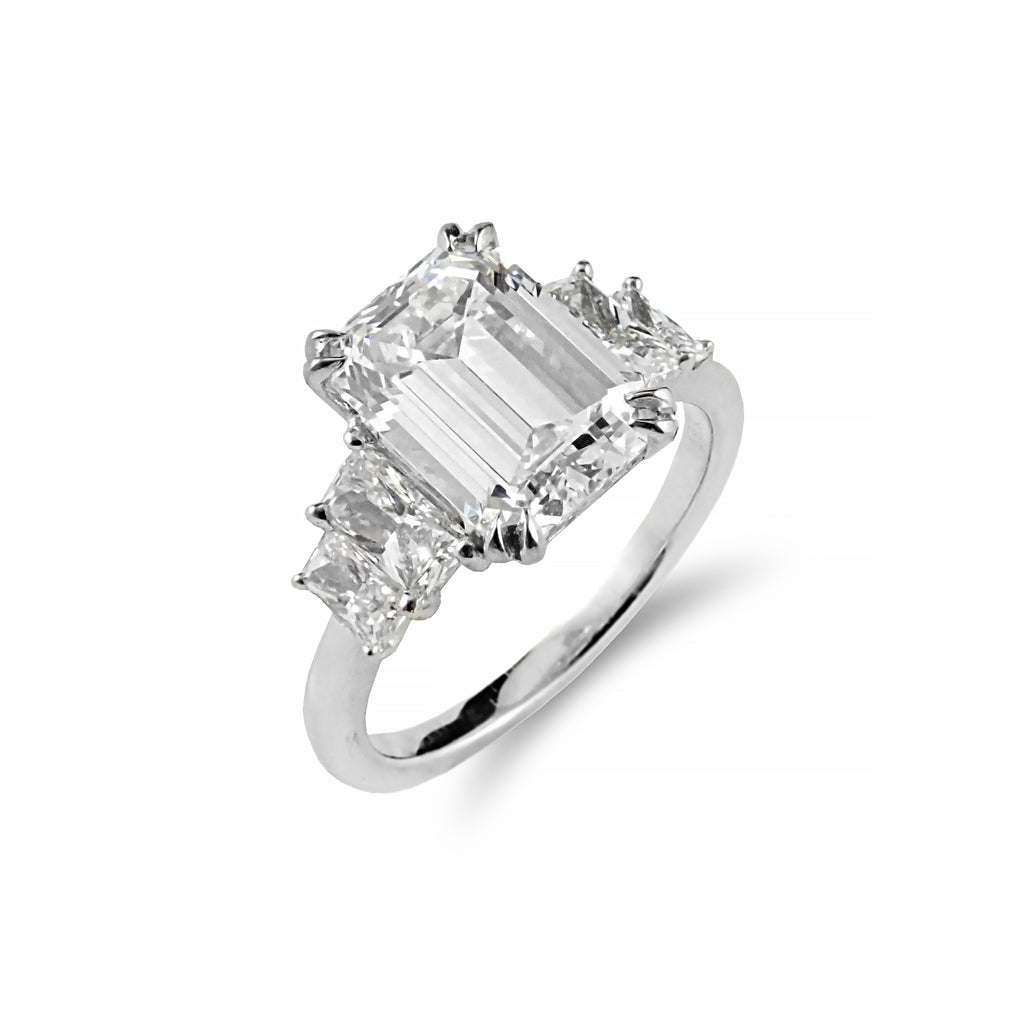 Rare ~ Internally Flawless 3.02ct Emerald Cut Diamond Ring Crafted in 18ct White Gold | Shop Online | Ring - Rosendorff