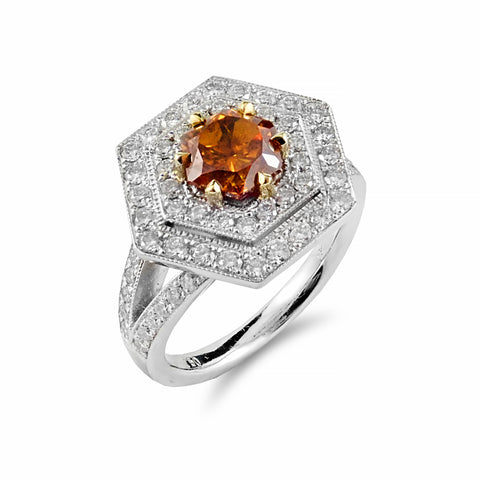 Spectacular Bespoke Creation By Rosendorff Features one Intense Hexagonal Brilliant 1.34ct Natural Fancy Deep Orange Yellowish Diamond | Shop Online | Ring - Rosendorff