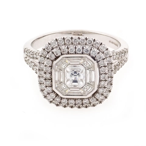 Rosendorff Asscher and Round Brilliant Diamond Ring