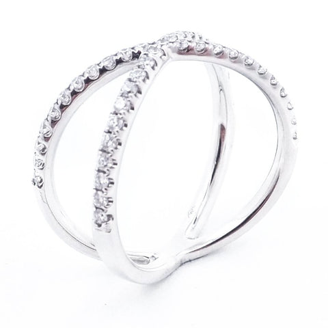 Cross Over Diamond Ring