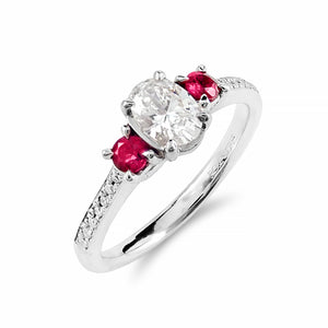 Precious Trilogy Collection Diamond & Natural Ruby Ring | Shop Online | Ring - Rosendorff