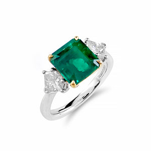 Vibrant Emerald & Diamond Trilogy Ring | Shop Online - Ring - Rosendorffs Diamonds Perth, Australia