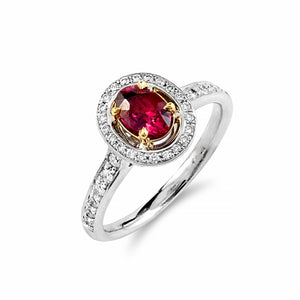 Gorgeous Oval Ruby and Diamond Halo Collection Ring | Shop Online | Ring - Rosendorff
