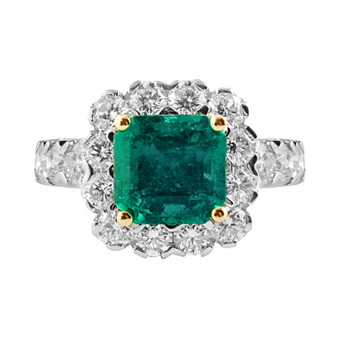 Vivid Green Emerald Halo Diamond Ring | Shop Online | Ring - Rosendorff