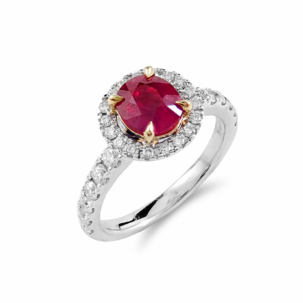 Timeless Ruby & Diamond Halo Ring | Shop Online | Ring - Rosendorff