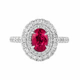 Stunning! Ruby and Double Diamond Halo Ring | Shop Online | Ring - Rosendorff