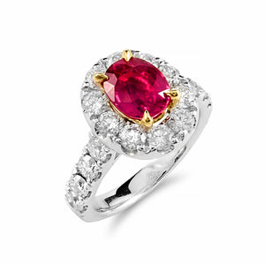 Vibrant Ruby & Diamond Halo Creation | Shop Online - Ring - Rosendorffs Diamonds Perth, Australia
