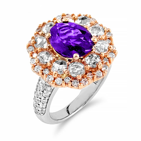 Amethyst & Diamond Halo Cocktail Ring