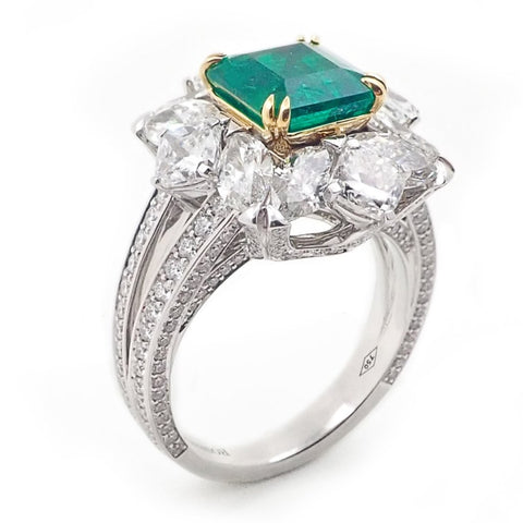 Vivid Colombian Emerald & Diamond Ring