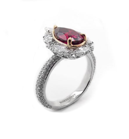 Exquisite Diamond & Rhodolite Garnet Ring