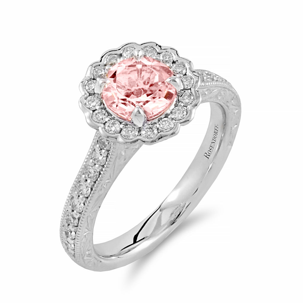 Fluted Halo Morganite Ring