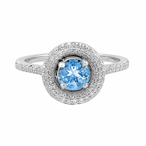 Aquamarine & Diamond Halo Collection Ring